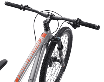 The Overdrive 29 3 has Rockshox Judy Gold suspension w/ 100mm travel and Shimano hydraulic discs