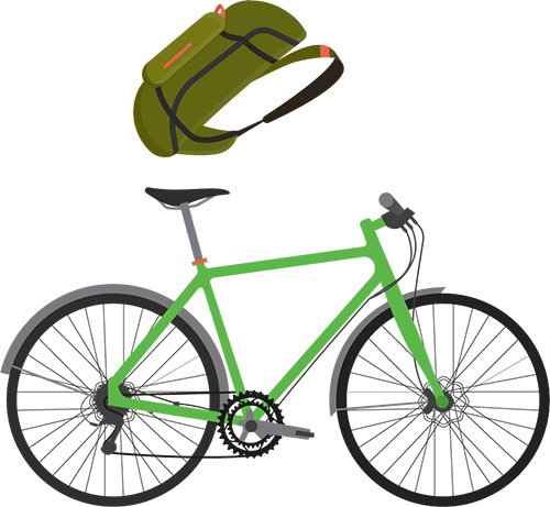 Backpack bicycle transportation