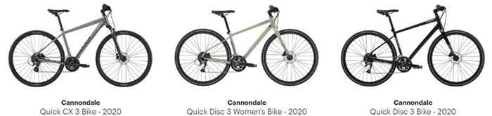 Cannondale Quick 3, Quick 3 women's and cx 3