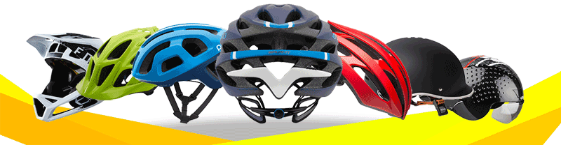 Six bicycle helmets