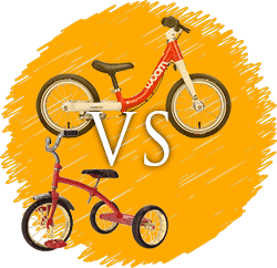 Balance bikes compared with tricycles