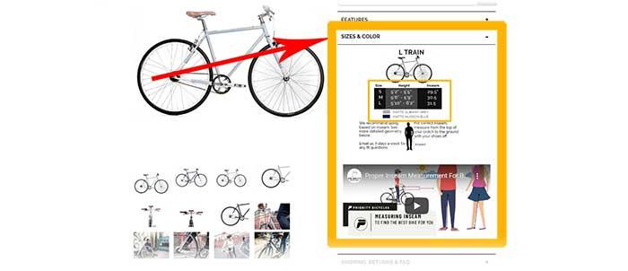 Priority bike sizes