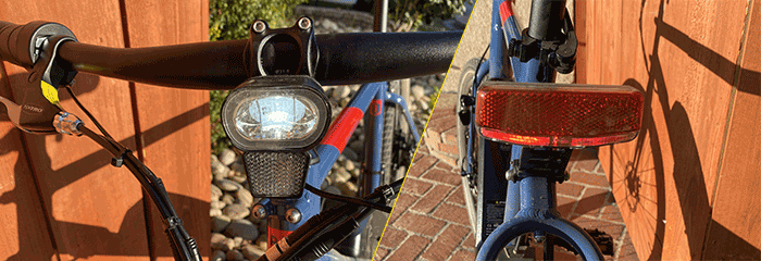 Front and read light of Rad Power Bikes' Radmission