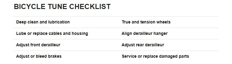 Bicycle tune up checklist