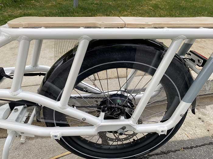 E-bike rear rack and motor