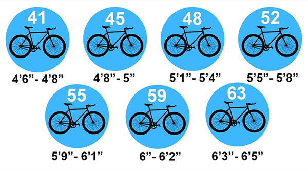 Golden Cycles bike sizes