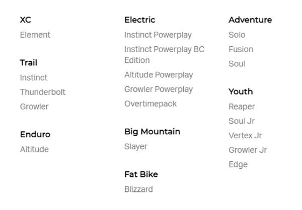 Rocky mountain bikes lineup