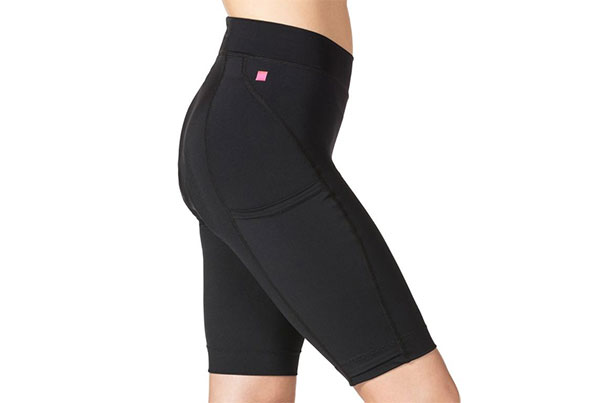 Side-view of panels on women's cycling shorts